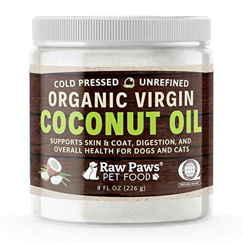 Raw Paws Organic Virgin Coconut Oil for Dogs & Cats, 8-oz - Supports Immune System, Digestion, Oral Health, Thyroid - All Natural Allergy Relief for Dogs, Hairball Relief