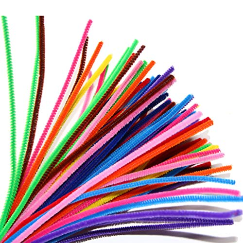 POPETPOP 100 Pcs Pipe Cleaners-Chenille Stems 6 mm x 12 Inch, Colors Pipe Cleaners Craft Decorations, Children Kids Cats Plush Educational Toy Crafts Handmade DIY Craft