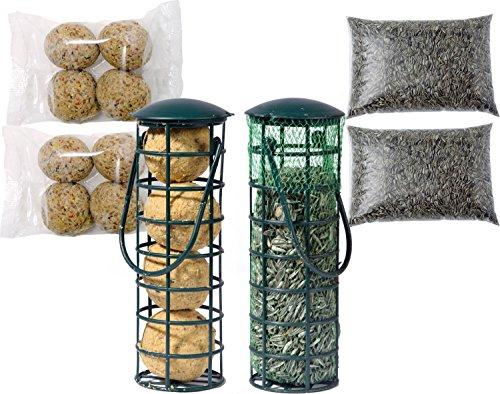dobar Deux gefüllte Distributeur de Nourriture avec 4 x Recharges de Boules de Graisse et graines de Tournesol pour Oiseaux Sauvages pour Oiseaux Toute Oiseaux Sauvages, 1er Pack (1 x 1.68 kg)