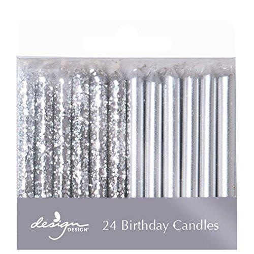 Design Design Metallic Birthday Candles, 1/4 x 2 3/8', Silver