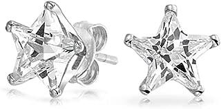 Celestial USA Patriotic Rock Star Cubic Zirconia CZ Stud Earrings For Women For Men 925 Sterling Silver 7MM