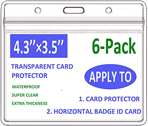 """[6-Pack] Clear Card Protector 4.3""""X 3.5"""" for Immunization Record, Waterproof Card Holder Horizontal Badge Holders ID Name Tag, Vinyl Hard Plastic Card Protector Sleeve Pouch with Type Resealable Zip."""
