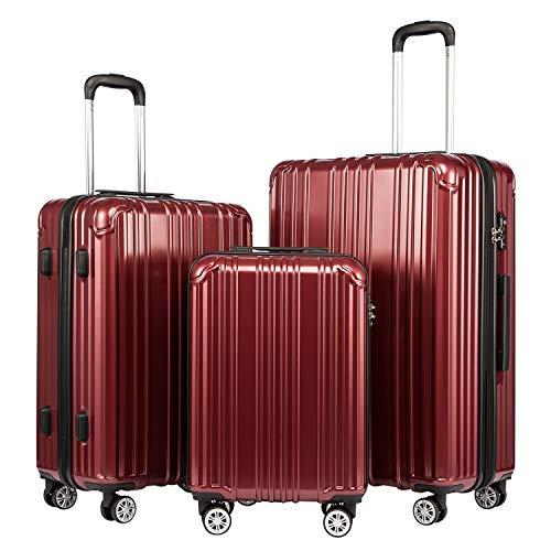 COOLIFE Hartschalen-Koffer Rollkoffer Reisekoffer Vergrößerbares Gepäck (Nur Großer Koffer Erweiterbar) PC+ABS Material mit TSA-Schloss und 4 Rollen (Crimson Red, Koffer-Set)