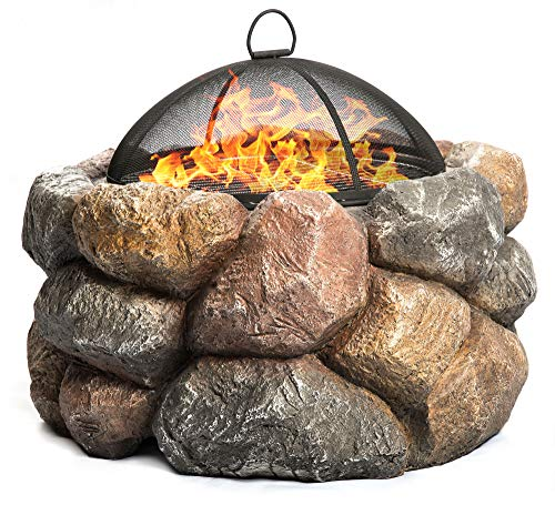 Centurion Supports Fireology SEYCHELLES Grand Garden & Patio Heater Fire Pit Brazier and Barbecue with Eco-Stone Finish