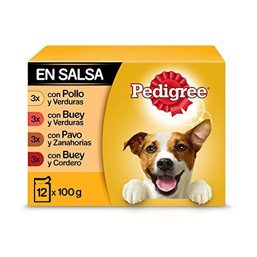 Pedigree Comida húmeda para Perros sabores Mixtos en Salsa, Multipack (4 Packs x 12 bolsitas x 100g) ⭐