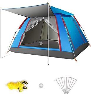 ポップアップテント3-4人、自動インスタントキャンプテントアウトドアクイックオープン防水ホワイエ付きアンチUVファミリーテントキャンプハイキング旅行クライミング簡単なセットアップ