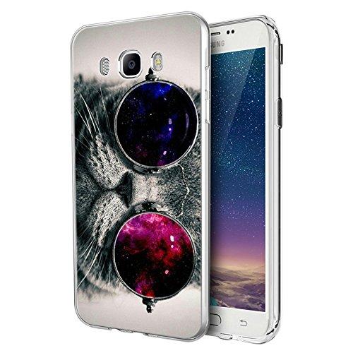 Funda Samsung Galaxy J5 2016, Eouine Cárcasa Silicona 3D Transparente con Dibujos Diseño Suave Gel TPU [Antigolpes] de Protector Case Fundas para Movil Samsung J52016-5,2 Pulgadas (Gato)