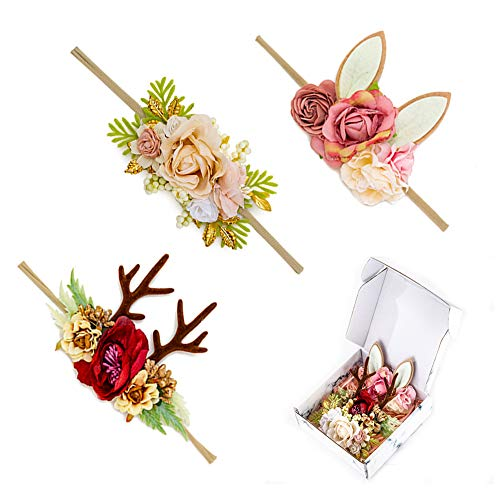 Baby Girl Christmas Deer Antler Floral Headband Flower Crown Bunny Ear Photography Head Wrap Nylon 3PCS for Infants Newborn Toddler by JIAHANG (022)