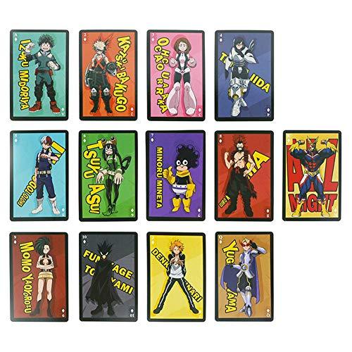 AMA-StarUK36 54 Blatt Anime My Hero Academia Spielkarten, Pokerkarte für Fans, Kartenspiel mit Freunden