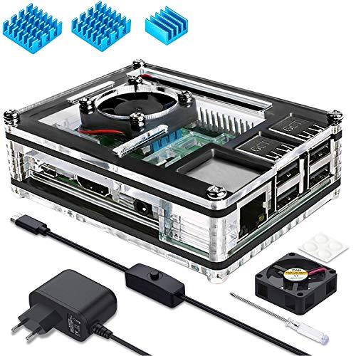 Miuzei Raspberry Pi 3 b+ Gehäuse mit Lüfterkühlung, 3 × Aluminium Kühlkörper, 5V 3A Netzteil, USB Kabel mit EIN/Aus Schalter Kompatibel mit Raspberry Pi Modell 3b+, 3b, 2b