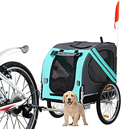 PawHut Folding Dog Bike Trailer Pet Cart Carrier for Bicycle Travel in Steel Frame - Green & Grey 8