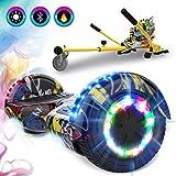 GeekMe Gyropode 6.5 Pouce avec hoverkart Scooter électrique Auto-équilibré Bluetooth Intégré Moteur 700W pour Enfants et...