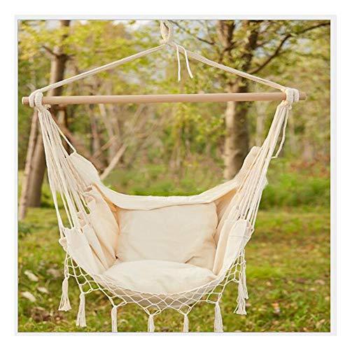 Hängesessel, Hängestuhl Basic Aus Baumwolle 360° Swivel Hängeschaukel Hänge-Sitz Hängeschaukel 130 X 100 Cm, Bis 120 Kg Belastbar,beige, Indoor Outdoor Garten