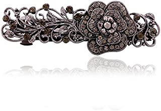 IPINK Gray Tone Metal French Clip Flower Design Hair Clip Barrette