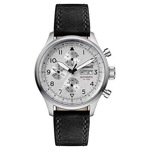 Ingersoll Herren-Armbanduhr The Bateman Quarz Leder Silber I01901