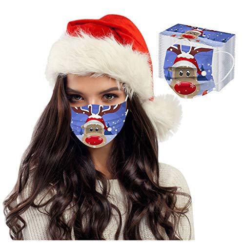SOMESUN 50 Stück Mundschutz Einweg, Weihnachten Bedruckte Muster Mund und Nasenschutz Atmungsaktiv Stoffmaske Ohrschlaufen Bedeckung Erwachsene Halstuch Schals