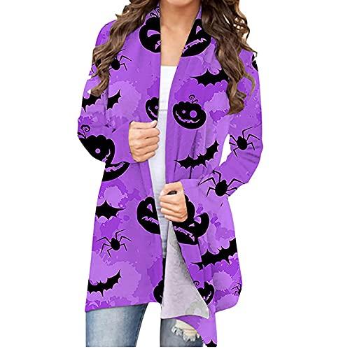 Mujeres Halloween Animal Gato Calabaza Print Cardigan Otoño Capa Blusa SW830445, Morado (, S