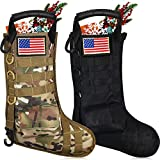 2 Pieces Tactical Christmas Stockings Military Christmas Stocking Bags with 2 Pieces American Flag Patches Black Camouflage Xmas Stockings Molle Gear Pouch Hanging Christmas Ornaments Home Decors