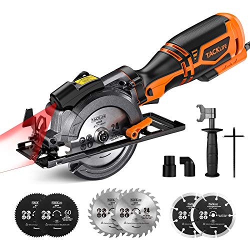 """TACKLIFE Compact Circular Saw with 6 Blades (4-3/4"""" & 4-1/2""""), Laser Guide, 5.8A, Cutting Depth 1-11/16'' (90°), 1-3/8'' (45°), Metal Handle, Versatile for Wood, Soft Metal, Tile and Plastic Cuts"""