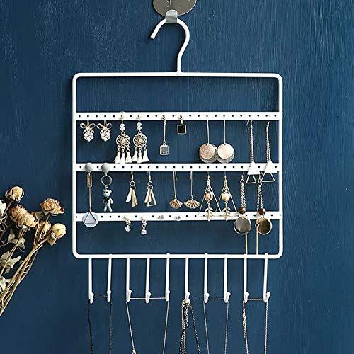 Lemonadeus Jewelry Hooks Storage Hanging Organizer,Earring Holder Necklace Jewelry Display Stand (Space Saver)Hanging Jewelry, Rings, Necklaces, Bracelets (WHITE(72holes10hooks))