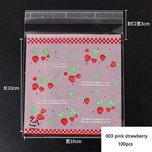 DIAZ 100 stks 10x10 Leuke Cartoon Zelfsluitende Zak Plastic Zakken voor Verjaardagsfeestje Festival Snoep Taart Biscuit Cookie Bakken Pakket, 003 roze aardbei, 10x10 cm