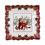 Villeroy & Boch - Toy's Fantasy fuente cuadrada, Papá Noel y los animales del bosque, fuente decorativa para aperitivos de porcelana Premium, 23x23x3,5cm, multicolor/rojo/blanco