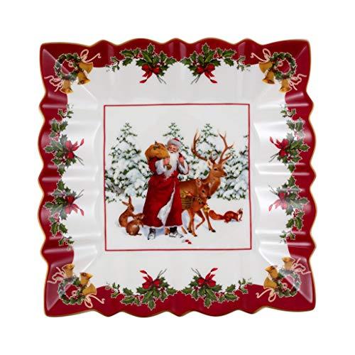 Villeroy & Boch - Toy's Fantasy Schale eckig, Santa mit Waldtieren, dekorative Snackschale aus Premium Porzellan, 23 x 23 x 3.5 cm, bunt/rot/weiß