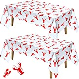 Touman 2 Pieces Crawfish Tablecloth Birthday Party Lobster Table Covers White and Red Crawfish Table Cloth for Party Decoration Supplies, 108 x 54 inches