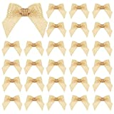 24 Pieces Burlap Bows Burlap Bow Knot Handmade Mini Burlap Bows Decorative Bowknot Natural Ornament Bow for Christmas Tree Wreaths, Festival, Holiday, Party, Wedding Decor, DIY Crafts and Supplies