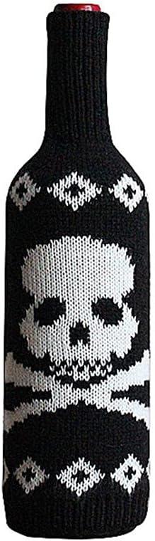 JUEXIN Cubierta de la Botella de Vino de Halloween, decoración Hecha Punto Calabaza de la Tabla del Bolso de la Botella de Champán del cráneo(Skeleton)