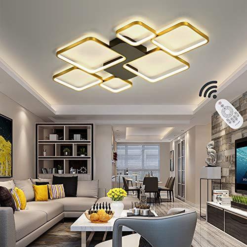 Moderna Lámpara LED De Techo Para Salón, Regulable, Pantalla De Acrílico, Lámpara De Techo De Diseño Cuadrado, Lámpara De Comedor Con Mando A Distancia, Lámpara De Techo, Dorado