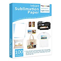 "🎅SHEET SIZE: 8.3"" X 11.7"", 100 sheets. Print on the white side of the dye sublimation paper. Work with LIGHT COLORED 100% POLYESTER fabric and POLYESTER coated items. 🎅COMPATIBLE: Our sublimation printer paper compatible with all inkjet printer with ..."