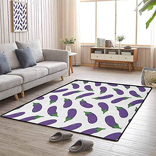 LAURE Tappetino da Campeggio Melanzane deliziose e Divertenti Disegni per Bambini Pasti nutrienti Vegan Natural Flagship Carpets
