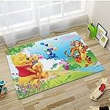 ZFDM Alfombra de Dibujos Animados Lindo Winnie The Pooh y Tigger Tiger Home Estera del Piso de la Mesa de Centro Baño Habitación Sala Creativo Rectangular 80cm * 120cm del Amortiguador