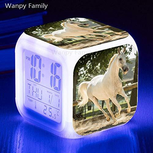 Zhuhuimin Led wekker met paard, 7 kleurvariaties, digitale tafelklok nachtlampje kubus klok kinderen verjaardagscadeau