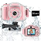 DEKER Kids Camera Waterproof Boys Girls Toys 3-12 Year Old Christmas Birthday Gifts Kids Underwater Mini Camcorder Cameras Children HD Digital Action Camera 2 Inch IPS Screen with 32GB Card (Pink)