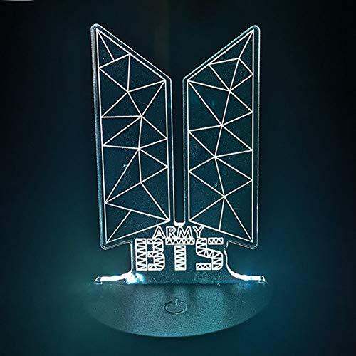 ALTcompluser Kpop BTS LED Nachtlicht Standing Figur Lampe, Nachttischlampe Touch Dimmbar 7-Farben ändern Schreibtischlampe mit USB-Kabel(BTS Logo)