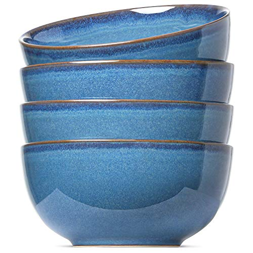 LE TAUCI Soup Cereal Bowls Set, 6 Inch Bowls for Cereal, Soup, Salad, Dessert, Set of 4, 20 Ounce, Ceylon Blue