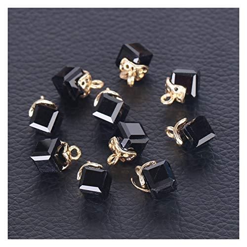 JINAN 10 cuentas sueltas de cristal para hacer joyas, costura, forma cuadrada, agujero de 2 mm (color: negro)