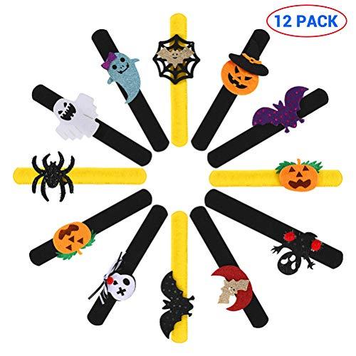 Kylewo 12 Stks Halloween Slap Armbanden Pompoen Ghost Bat Spider Slap Bands Metalen Armbanden voor Jongens en Meisjes Halloween Feestartikelen