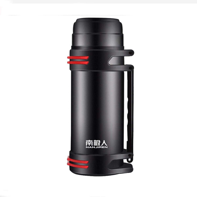 8haowenju Pot isolant, pot de voyage extérieur, thermos grande capacité en acier inoxydable, fiole à vide pour voiture, thermos, bouilloire, 2L   couleur noire acier (Couleur   noir)