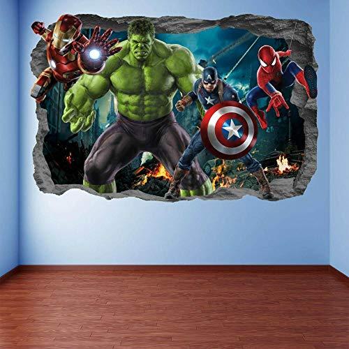 BAOJIAN Wall Sticker Super Hero Wall Art Stickers Mural Decal Hulk Spider Iron Man EA96