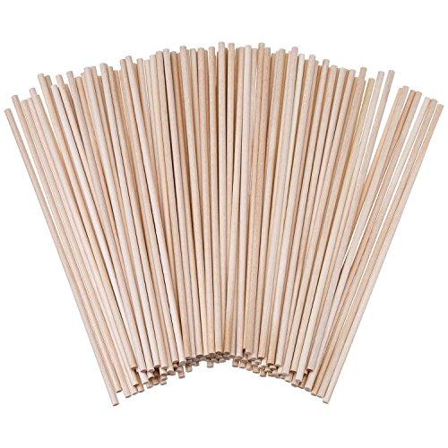 Palillos de Madera sin Acabado Palos Redondos para Manualidades 100 Pack (6 x 1/8 Pulgadas)