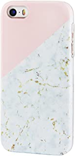 Gold Marble Compatible for iPhone SE 5S 5 Case uCOLOR Pink Geometric Dual-Layer Hard Back+Flexible TPU Protective Cover for iPhone SE/5S/5