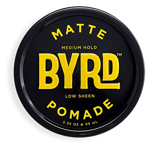 BYRD Hair Matte Pomade - Medium Hold, No Sheen, For All Hair Types, Mineral Oil Free, Paraben Free, Phthalate Free, Sulfate Free, Cruelty Free, Water Based, 3.35oz