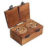 AerWo, scatola rustica in legno per fedi nuziali, anello di fidanzamento Mr and Mrs, scatola porta anelli in legno con chiusura a fibbia con iuta per matrimonio rustico e fidanzamento