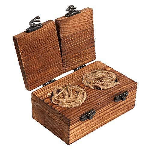 Caja de madera rústica para anillos de boda AerWo, caja de madera para anillos de compromiso, caja portadora de anillos de madera con cierre de arpillera para boda rústica de Woodland