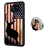 Hynina Phone Case and Phone Ring Buckle Compatible for Samsung Galaxy S7 Edge - American Flag