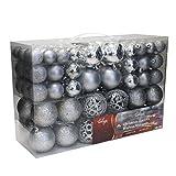 Set de 100 Bolas de Navidad Ø3/4/6cm plástico Plata Adornos del árbol de Navidad decoración navideña decoración para el Abeto