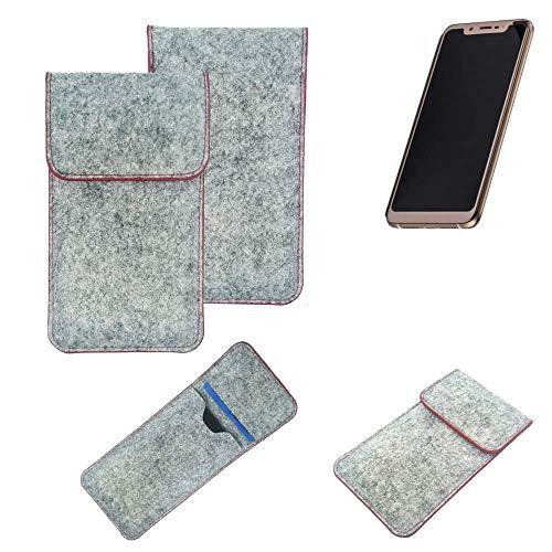 K-S-Trade Handy Schutz Hülle Für Doogee V Schutzhülle Handyhülle Filztasche Pouch Tasche Hülle Sleeve Filzhülle Hellgrau Roter Rand